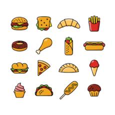ikonky barevné fastfood