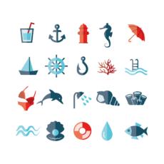 ikonky barevné námořní